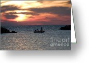 Catch Light Greeting Cards - Fisherman at sunset in New Buffalo Greeting Card by Purcell Pictures