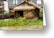 Flooded Greeting Cards - Fisherman Boat House Greeting Card by Artur Bogacki