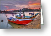 Marang Greeting Cards - Fisherman Boats Greeting Card by Tuah Roslan