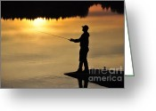 Figure Pyrography Greeting Cards - Fisherman Greeting Card by Conny Sjostrom