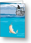 Illustration Greeting Cards - Fisherman Fishing Trout Fish Retro Greeting Card by Aloysius Patrimonio