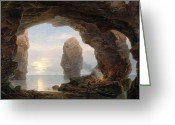 Cavern Greeting Cards - Fisherman in a Grotto Helgoland Greeting Card by Christian Ernst Bernhard Morgenstern