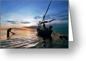 Huahin Greeting Cards - Fisherman Life Huahin Thailand Greeting Card by Arthit Somsakul