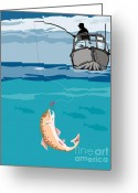 Jumping Digital Art Greeting Cards - Fisherman on boat trout  Greeting Card by Aloysius Patrimonio