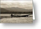  Wrapping Greeting Cards - Fisherman on Inle Lake Greeting Card by RicardMN Photography