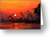 Giclee Prints Greeting Cards - Fisherman Sunset in Kerala-India Greeting Card by Vidyut Singhal
