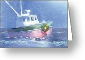Cape Cod Greeting Cards - Fishermans Holiday Greeting Card by Joseph Gallant