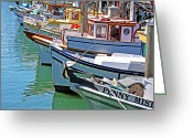 San Francisco Greeting Cards - Fishermans Wharf Boats Greeting Card by Ty Helbach