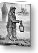 Fishermen Greeting Cards - Fishermen - Jersey Shore Greeting Card by Angie McKenzie
