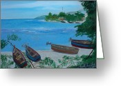 Nicole Jean-louis Greeting Cards - Fishermen Boats By The Sea Greeting Card by Nicole Jean-Louis