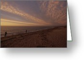 Fishermen Greeting Cards - Fishermen Fishing In The Surf At Sunset Greeting Card by Todd Gipstein
