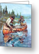 Sportsmen Greeting Cards - Fishermen in Canoe Greeting Card by Pg Reproductions