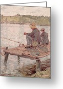 Anglers Greeting Cards - Fishermen Greeting Card by Pierre Roche