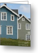 Blue House Greeting Cards - Fishermens Settlement 1 Greeting Card by Heiko Koehrer-Wagner