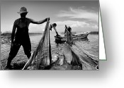 Old Man Fishing Greeting Cards - Fishing - 6 Greeting Card by Okan YILMAZ
