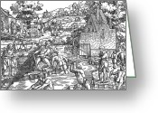 Ebb And Flow Greeting Cards - Fishing, 16th Century Greeting Card by Photo Researchers