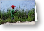 Mound Greeting Cards - Fishing at Hickory Mound Greeting Card by Marilyn Holkham
