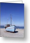 Noth Greeting Cards - Fishing boat at beach Greeting Card by E Petersen