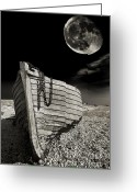 Dark Greeting Cards - Fishing Boat Graveyard 3 Greeting Card by Meirion Matthias