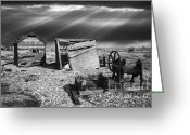Sheds Greeting Cards - Fishing Boat Graveyard 4 Greeting Card by Meirion Matthias