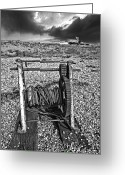 Threatening Greeting Cards - Fishing Boat Graveyard 8 Greeting Card by Meirion Matthias
