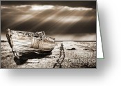 Shoreline Greeting Cards - Fishing Boat Graveyard 9 Greeting Card by Meirion Matthias