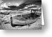 Wreck Greeting Cards - Fishing Boat Graveyard Greeting Card by Meirion Matthias