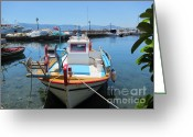 Roswitha Schmuecker Greeting Cards - Fishing Boat in Molyvos Greeting Card by Roswitha Schmuecker