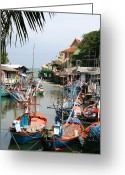 Wat Digital Art Greeting Cards - Fishing Boats Greeting Card by Adrian Evans