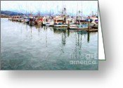 Typhoon Greeting Cards - Fishing Boats At The Dock . 7D8187 Greeting Card by Wingsdomain Art and Photography