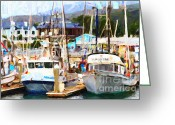 Typhoon Greeting Cards - Fishing Boats at the Dock . 7D8213 Greeting Card by Wingsdomain Art and Photography