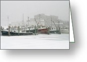 Cape Cod Mass Photo Greeting Cards - Fishing boats during winter storm Sandwich Cape Cod Greeting Card by Matt Suess