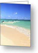 Surf Lifestyle Greeting Cards - Fishing boats in Caribbean sea Greeting Card by Elena Elisseeva