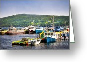 Docks Greeting Cards - Fishing boats in Newfoundland Greeting Card by Elena Elisseeva