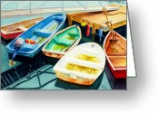 Maine Painting Greeting Cards - Fishing Boats Greeting Card by Karen Fleschler