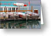 Lake Mcdonald Greeting Cards - Fishing Boats Greeting Card by Karon Melillo DeVega