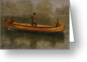 Anglers Greeting Cards - Fishing from a Canoe Greeting Card by Albert Bierstadt