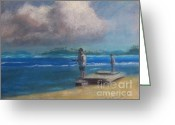 Puerto Rico Pastels Greeting Cards - Fishing in Puerto Rico Greeting Card by Karen Sanabria