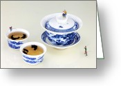 Asian Art Greeting Cards - Fishing on tea cups II Greeting Card by Mingqi Ge