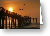 Hatteras Greeting Cards - Fishing Pier At Sunrise Greeting Card by Steven Ainsworth