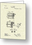 Sports Art Drawings Greeting Cards - Fishing Reel 1885 Patent Art Greeting Card by Prior Art Design