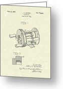 Patent Artwork Greeting Cards - Fishing Reel 1937 Patent Art Greeting Card by Prior Art Design