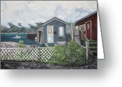 Water Scenes Greeting Cards - Fishing Shacks Alaska Greeting Card by Reb Frost