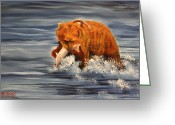 Kodiak Painting Greeting Cards - Fishing Greeting Card by Terry Lewey