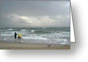 Surf Fishing Photo Greeting Cards - Fishing Through The Storm - Diamond Shoals NC Greeting Card by Carol Senske
