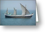 India Greeting Cards - Fishing vessel in the Arabian sea Greeting Card by Ashish Agarwal