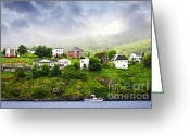 Sea Cottage Greeting Cards - Fishing village in Newfoundland Greeting Card by Elena Elisseeva