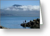 Kid Photo Greeting Cards - Fishing With Dad Greeting Card by Lori Seaman