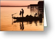 Toledo Greeting Cards - Fishing with Daddy Greeting Card by Bonnie Barry