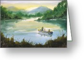 Father Greeting Cards - Fishing With Grandpa Greeting Card by Sean Seal